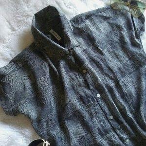 *CUTE* Button-down Fashion Pattern Squares Shirt